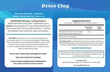 Royal Flush Kit - Detox Clay - Supplements Facts Label